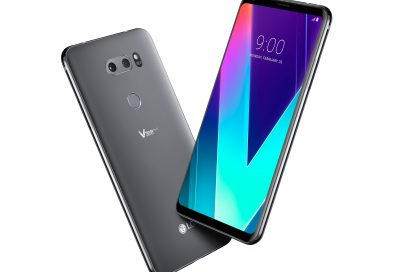 The front and rear view of the LG V30SThinQ in New Platinum Gray positioned to form a V shape