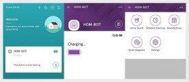 The image shows how to activate the Home-Guard feature on LG HOM-BOT settings.