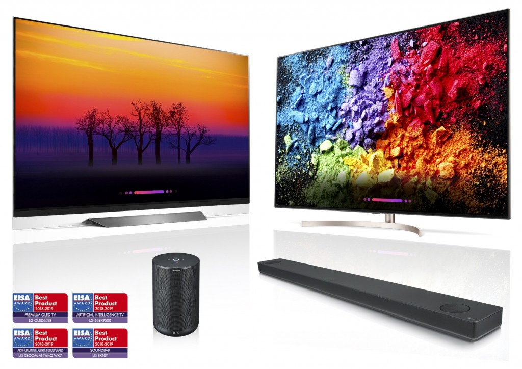 LG's AI ThinQ-enabled products including OLED TV, LG SUPER UHD TV, LG XBOOM and LG Soundbar above four EISA AWARD logos.