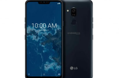 The front and rear view of the LG G7 One in New Moroccan Blue
