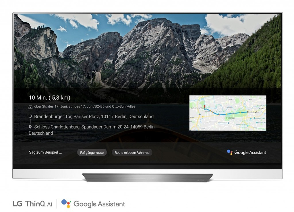 A front view of LG OLED TV showing Google Maps.