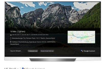 A front view of LG OLED TV showing Google Maps