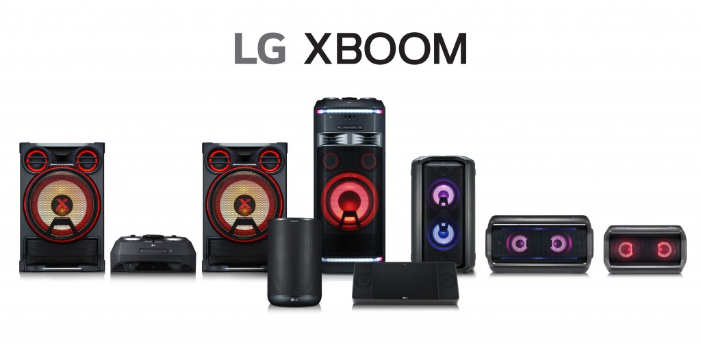 Front view of the LG XBOOM lineup.