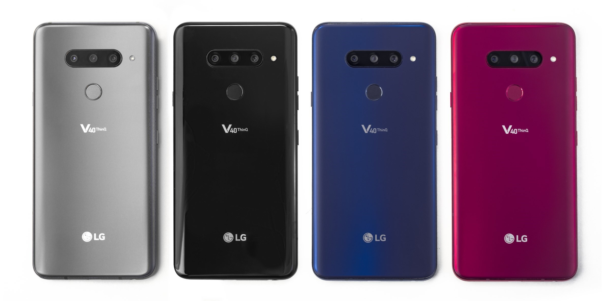 The rear view of the LG V40 ThinQ in New Platinum Gray, New Aurora Black, New Moroccan Blue and Carmine Red, side-by-side