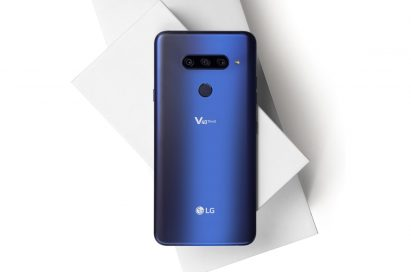 The rear view of the LG V40 ThinQ in New Moroccan Blue