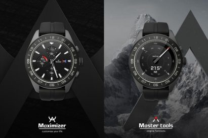 The front view of the LG Watch W7 with the Maximizer on one screen, and Master Tools on the other