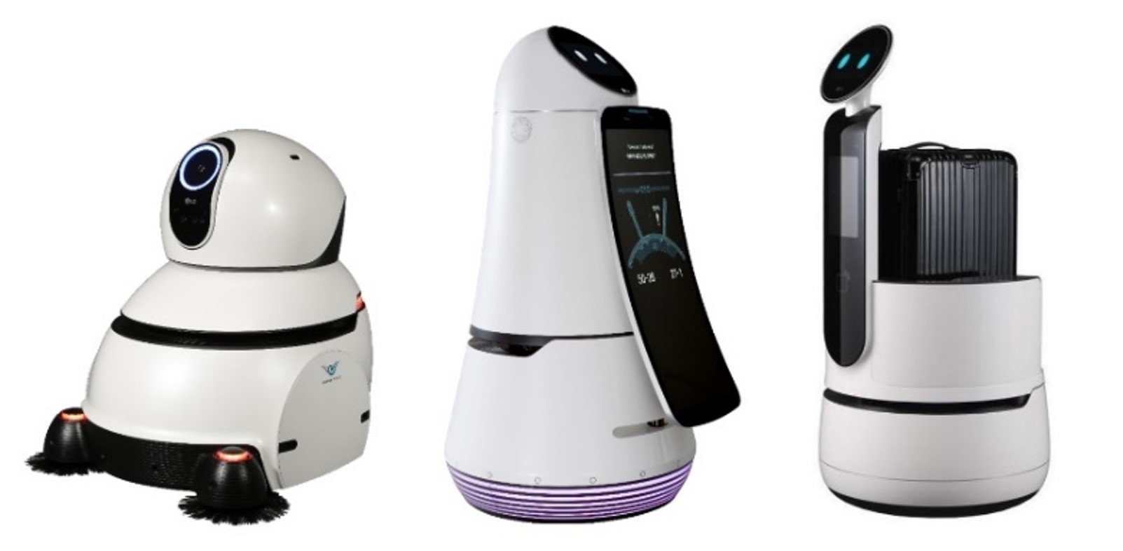 LG's commercial robots – the Cleaning Robot, Airport Guide Robot and Porter Robot