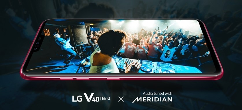 A promotional image about the partnership between LG V40 ThinQ and Meridian Audio, LG V40 ThinQ's screen displays a DJ playing music on the stage for a crowd in a club.