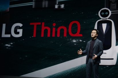 LG's Chief Technology Officer Park Il-pyung gives a presentation about LG's Ai ThinQ technology and its AI business strategy.