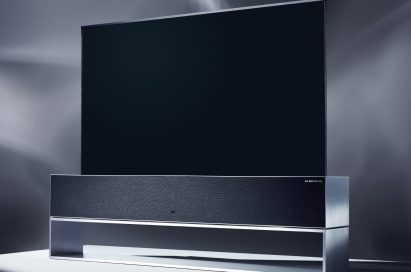 A right-side view of LG SIGNATURE OLED TV R model 65R9 on display