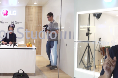 US-based tech reviewer Joshua Vergara shoots his news video on the LG Creator's Studio.