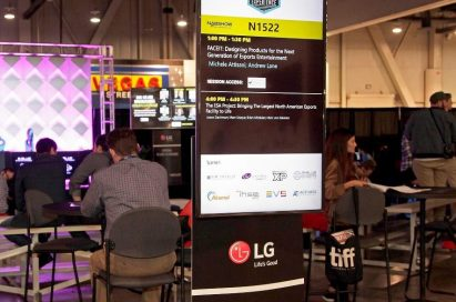 A standing banner of 2019 NAB Show introduces LG as the official 4K UHD TV partner.