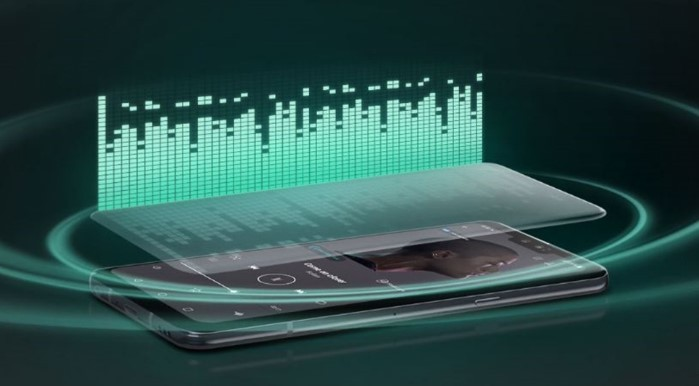 A concept image that describes the Crystal Sound OLED technology of the LG G8 ThinQ