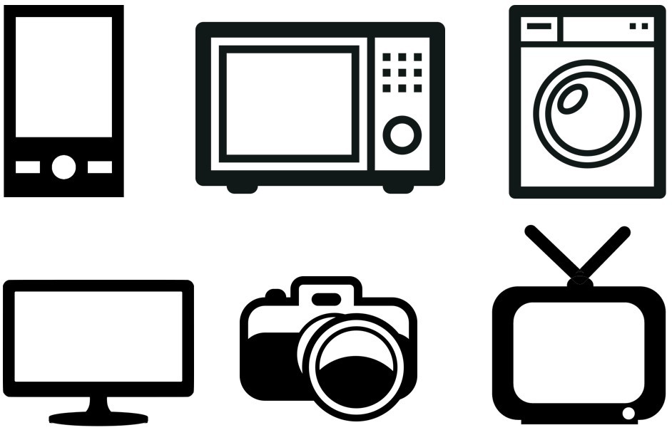 Icons of electronic devices including smartphone, microwave, washing machine, PC monitor, digital camera and television