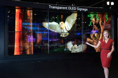 A model poses with the Transparent OLED signage.