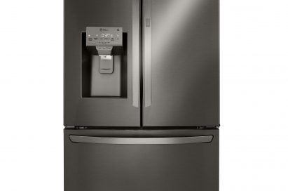 Front view of an LG three-door refrigerator with a door-ice maker