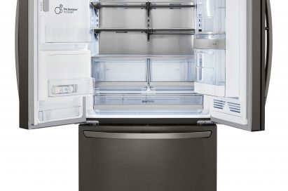 Front view of an LG three-door refrigerator with a door-ice maker with the top doors open