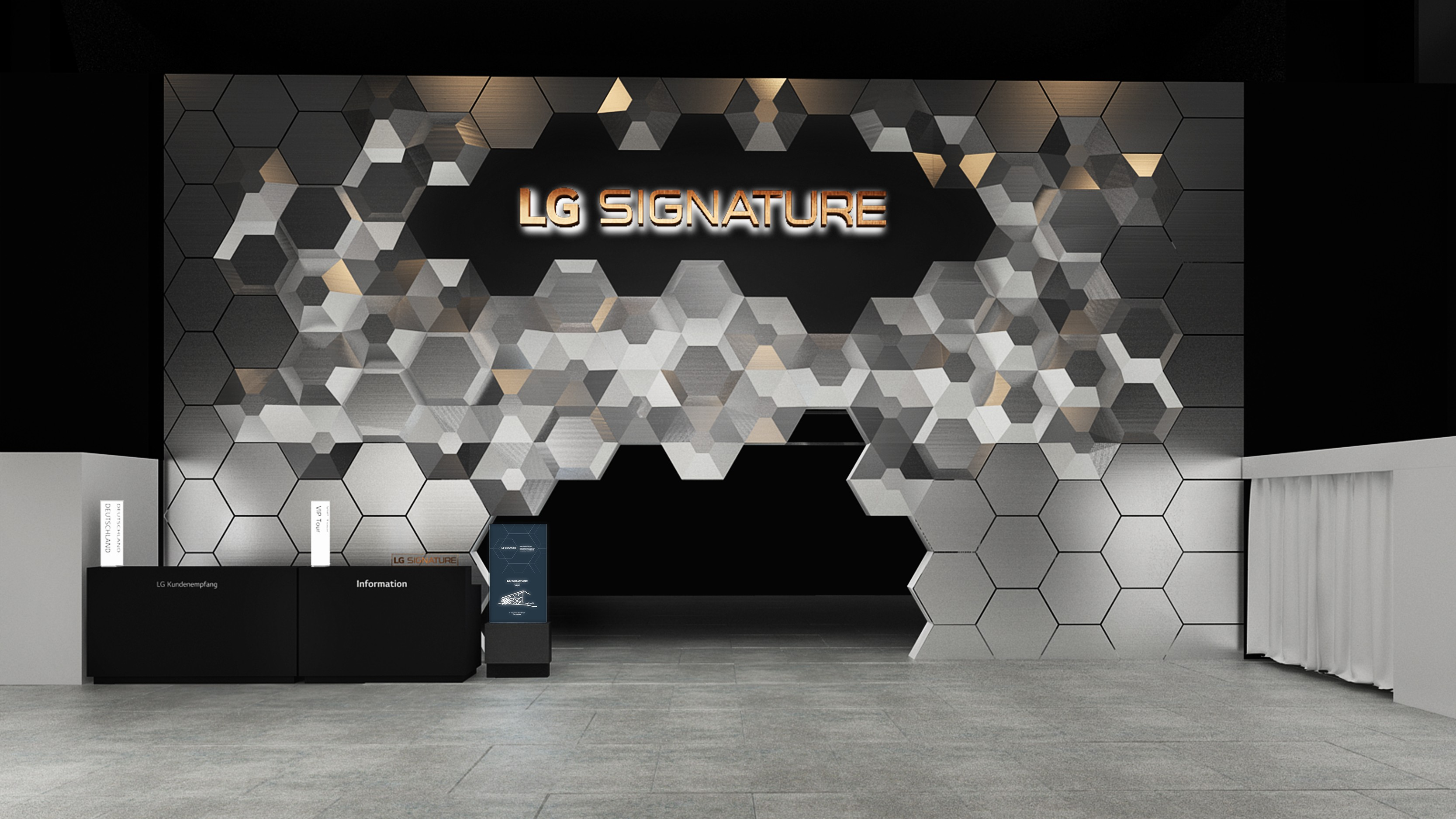 Image of the SIGNATURE booth at IFA 2019 created by LG and international architectural firm Studio Fuksas under the theme of Infinity.