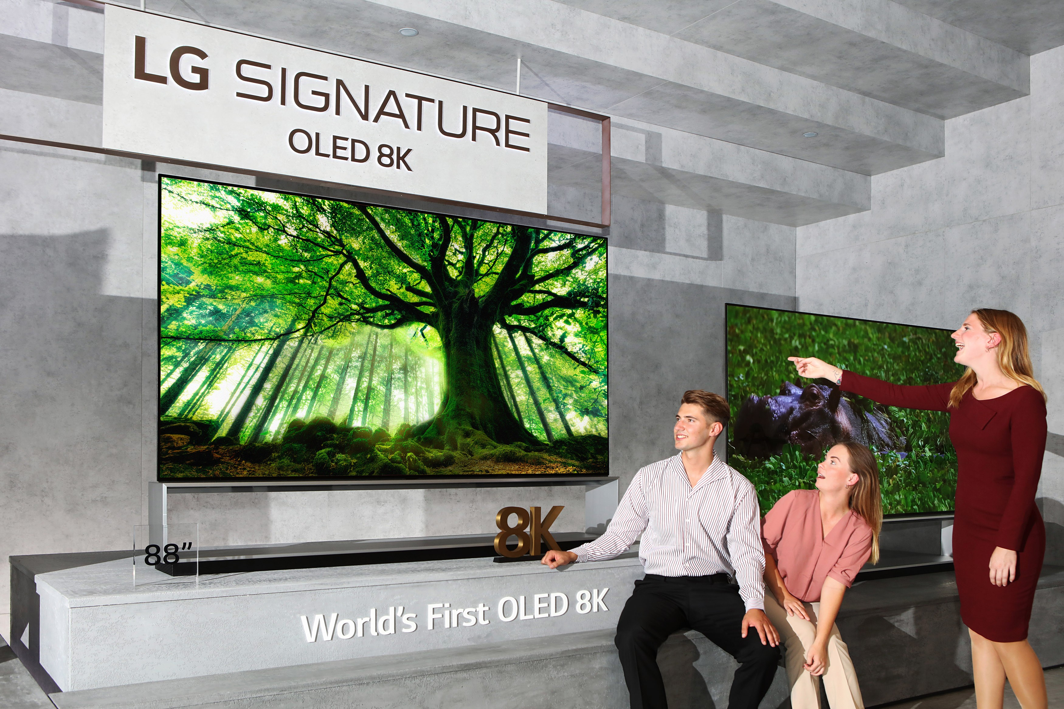 Three models admiring the LG SIGNATURE OLED 8K TV while it displays an enormous tree.
