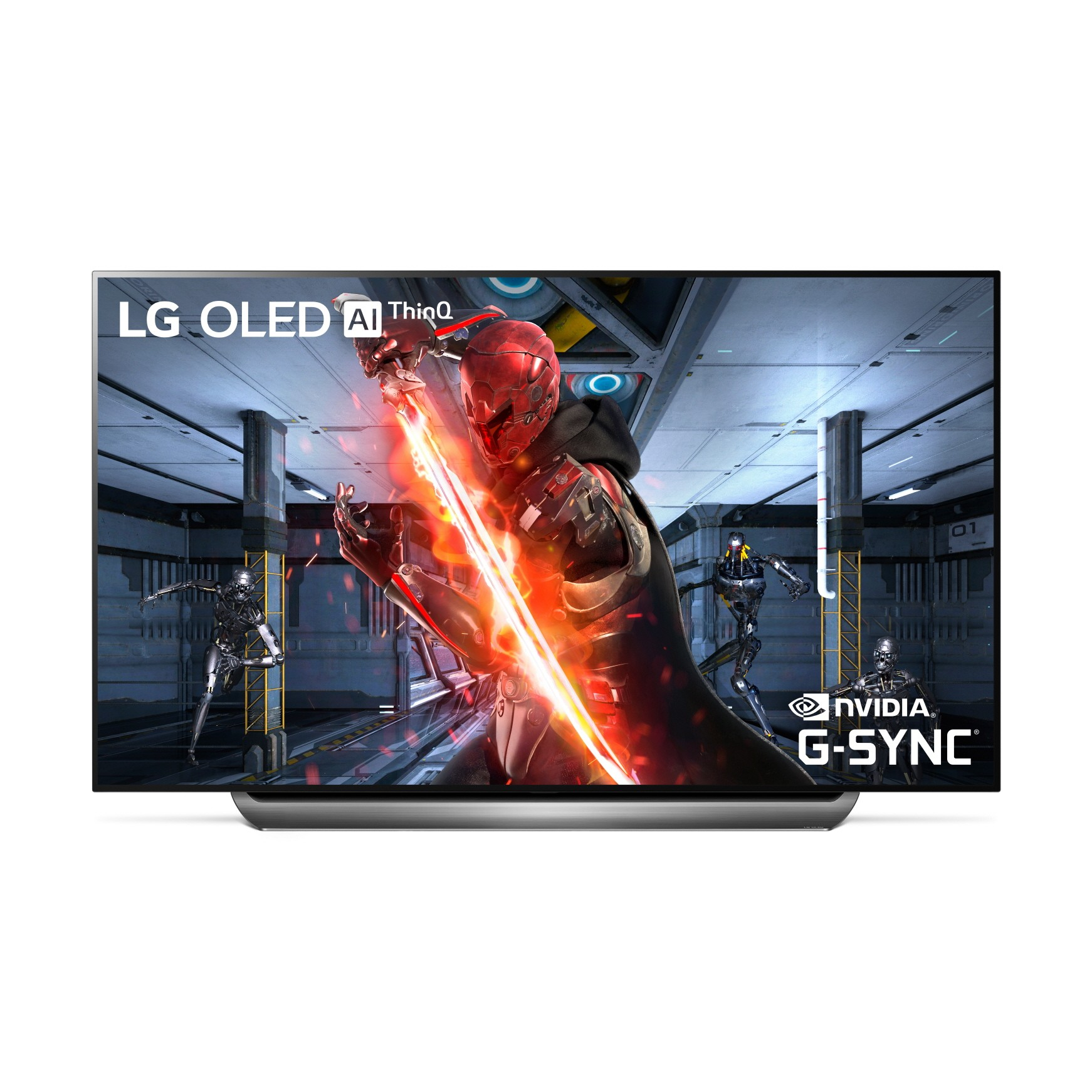 A front view of LG OLED TV with NVIDIA G-SYNC.
