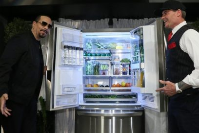 World-famous rappers, Vanilla Ice and Ice-T, hold open the doors of the LG InstaView™ Door-in-Door® Refrigerator with Craft Ice at the Craft Ice House hosted by LG event.