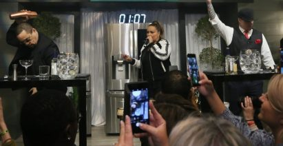 Event attendees enjoy the cocktail competition between two iconic Ice-named rappers: Vanilla Ice and Ice-T.