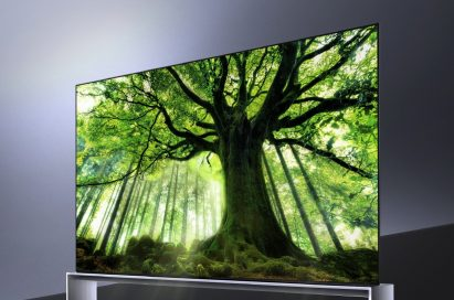 A right-side view of LG SIGNATURE OLED 8K TV model 88Z9 showing a tall tree