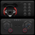 Full-sized touchscreen controllers on the LG Dual Screen, which allows users to either choose their game pads for shooting, racing, action and sports games, or design their own game pad.