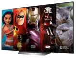 The screen of an LG TV displays five different characters from major TV shows and films available on the Disney+ app, which includes content from Disney, Pixar, Marvel, Star Wars and National Geographic.