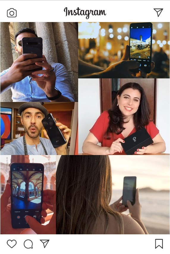 An image on Instagram featuring Instagram influencers using LG smartphones including LG V50 ThinQ, LG G8S ThinQ and LG Q60.