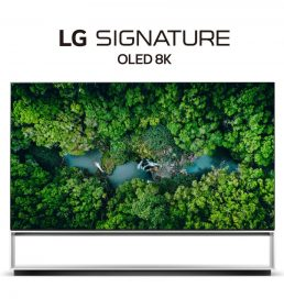 Front view of LG's 2020 Real 8K OLED TV with the LG SIGNATURE OLED 8K logo positioned above