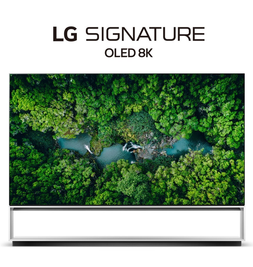 Front view of LG's 2020 Real 8K OLED TV with the LG SIGNATURE OLED 8K logo positioned above.
