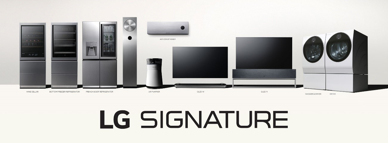 The LG SIGNATURE lineup including the refrigerator, air purifier, OLED TV and washing machine.