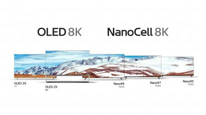 View of LG's 8K OLED TV lineup with OLED 8K logo placed above on the left, and LG's 8K NanoCell TV lineup with NanoCell 8K TV logo placed above on the right
