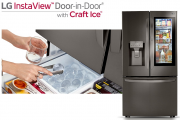 A promotional image shows someone picking up balls of ice for their drink from LG's InstaView Door-in-Door Refrigerator with Craft Ice