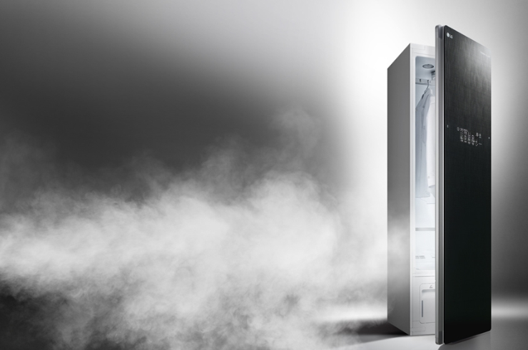 A promotional image of the LG Styler with its door slightly open and lots of steam escaping from inside