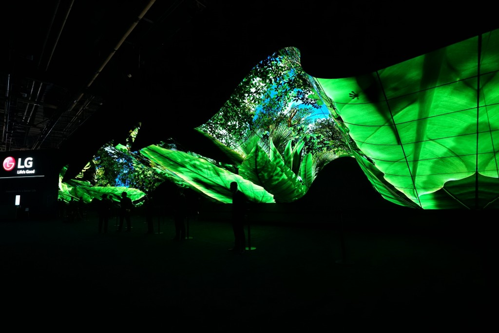 A wide-angle shot of LG Wave in the dark displaying the vibrant greens and blues of a rainforest at CES 2020
