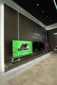 A view of LG's OLED 8K TV zone at CES 2020, with the company's 8K OLED TV lineup on display