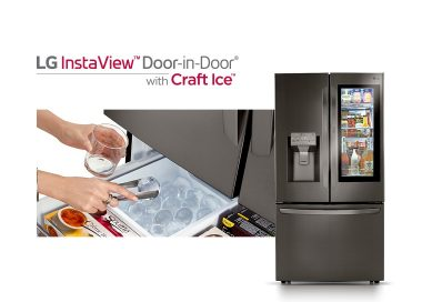 Front view of LG InstaView™ Door-in-Door® showing its inside through the InstaView becoming transparent with a close-up view of a user taking out Craft Ice™ from a drawer.