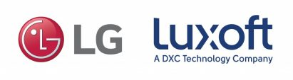 The logos of LG Electronics and Luxoft to acknowledge the new partnership to improve and expand the webOS Auto platform