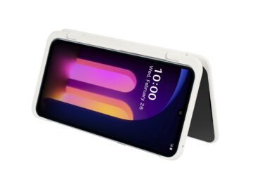 The front view of the LG V60 ThinQ 5G attached to the Dual Screen in White folded like a tent