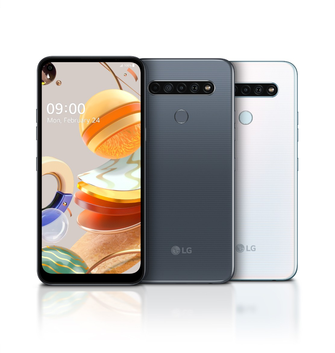 The front and rear view of the LG K61 in Titanium and White