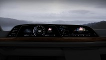 Front view of the first-ever in-vehicle curved OLED display inside the all-new 2021 Cadillac Escalade, which utilizes LG Electronics' P-OLED Technology