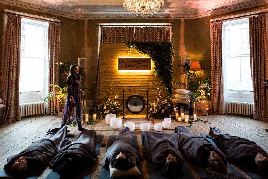 Guests enjoying a 30-minute sound bath and meditation session