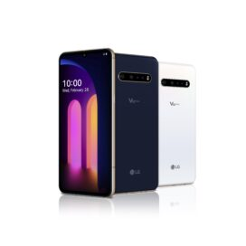 The front and rear view of the LG V60 ThinQ 5G in Classy Blue and Classy White