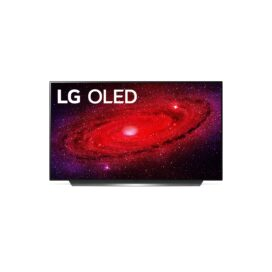 Front view of LG's 48-inch OLED TV displaying every detail of a red and purple galaxy, with the LG OLED logo in the top-left corner of the screen