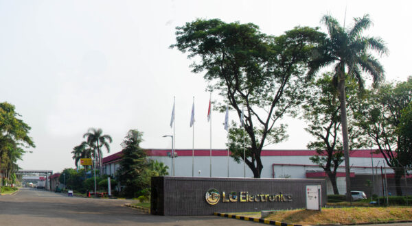 LG's facility in Indonesia with some laborers working in the assembly line.