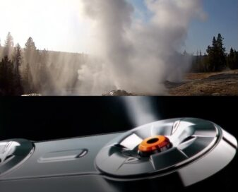 An image combining steam coming from LG TrueSteam and a natural geyser
