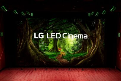 A central view of the LG LED Cinema Display producing a colorful nature scene