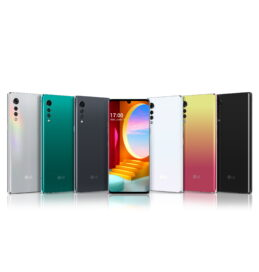 Front and rear view of LG VELVET in Aurora Silver, Aurora Green, Aurora Gray, Aurora White, Illusion Sunset and New Black
